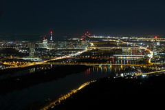 Danube City (No_Mosquito) Tags: vienna austria europe danube city urban dark lights bridges skyline canon powershot g7x mark ii light trails long exposure leopoldsberg hill lookout reflections g7xmarkii