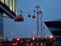 Cable Cars and the DLR (35mmMan) Tags: london docklands city urban metropolis dusk uk e16 nikon docks cable car emirates air line dlr public transport