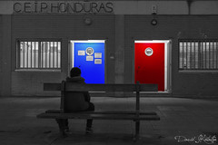 MATRIX (https://katalan46.wixsite.com/fotografia) Tags: matrix splash color bnw school children boy sitting bench sentado banco rojo red azul blue decision old antiguo film movie pelicula door doors building house puerta puertas undecided