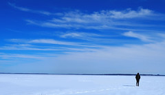 Oka National Park (charlestindall) Tags: alone travel nature snow frozen cold sun blue sky footprints clouds bright