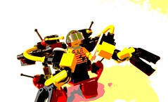 Handcart-Based Utility Mech / Worker's Walker (HBUMWW) (SuperLushFeverDream) Tags: lego legos moc mocs mech mecha legomech legomechs mechs mechsuit walker walkers toys posterized posterization art artwork
