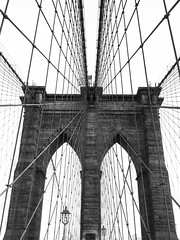 The wind through her strings (marktmcn) Tags: brooklyn bridge tower new york city nyc spanning east river iconic structure cable cables steel wires steelwired cablestayed suspension lattice grid lamps