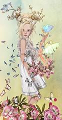 Where the fairies bloom (Jewel Appletor aka Karalyn Hubbard) Tags: fairy fairies whimsical fantasy doll butterflies flowers horns art artist digital