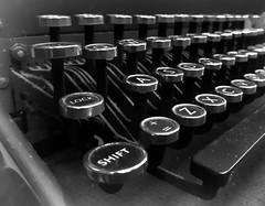 Shift key (scarbrog) Tags: typewriter keys keyboard blackandwhite mono monochrome nikefex phonecamera