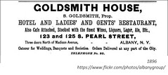 Goldsmith House Hotel and Restaurant  121 and 125 South Pearl st  1896 albany ny (albany group archive) Tags: 1890s goldsmith house hotel restaurant 121 125 south pearl 1896 albany ny