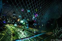 H-Town skyline on lockdown (Jay Dee Texas) Tags: downtownhouston skyline citynights fences nightphotography padlocks allenparkway eleanortinsleypark afterdark rokinon 14mm htown