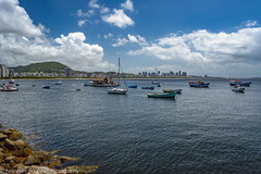 View (AlexandreSiqueira) Tags: sky city sea water beach blue sun light sunlight clouds ocean rocks view landscape boats sailboats cityscape sunny sunrays urca botafogo riodejaneiro rj rio brasil brazil