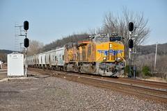 Brand new Tier 4. (Machme92) Tags: unionpacifc up union usa trains trainrace tracks railroad railfanning railroads railfans rails rail row railroading railfan yellow ge gevo