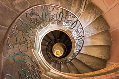(aesrth) Tags: stairs fall infinity circle around helix spiral up down architecture indoors reflection orange railings sony rx100 austria melk abbey
