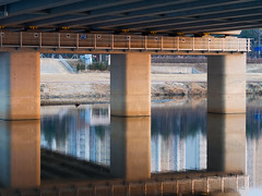 Under a bridge near KAIST (Valentin.VP) Tags: kaist south korea coree du sud bridge orange blue river