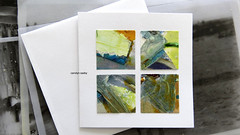 four squares (Carolyn Saxby) Tags: collage artwork squares artcard mixedmedia card oilpastel paint wax carolynsaxby