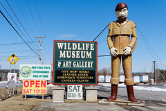 Roadside Kitsch (fotofish64) Tags: americana advertising woodsman leatherman mayfieldfreddy statue sign wildlifemuseumartgallery newyorkstateoutdoorsmenhalloffame alvords alvordsleather museum artgallery smalltown rural roadside mayfield vailsmills fultoncounty mohawkvalley capitalregion newyork outdoor pentax pentaxart hdpentaxda1685mmlens k70 kmount color blue red word number kitsch