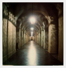City Hall Arcade (tobysx70) Tags: the impossible project tip polaroid sx70sonar sonar instant color film for sx70 type cameras impossaroid roidweek roid week polaroidweek spring april 2017 city hall arcade garfield avenue pasadena california ca lamp reflection dappled light lit illuminated night nocturnal arches colonnade corridor vanishing point day2 toby hancock photography