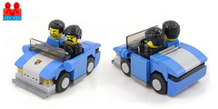 How narrow can a two-seater get? (Unijob Lindo) Tags: leg godt bricks klocki fig figure minifigure torso armless legoland old tire tires tyres grey bley blue western hair lego brick slope slopes car cars vehicle vehicles sports porsche 2seater two seater four 4 stud studs headlights mirror windshield mini miniature bumper mudguard mudguards curved round tiles tile toy toys