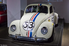 Herbie the Love Bug (Thad Zajdowicz) Tags: zajdowicz losangeles california petersenautomotivemuseum availablelight indoor inside museum canon eos 5dmarkiii 5d3 dslr digital lightroom ef50mmf12lusm 50mm primelens car automobile transportation herbie thelovebug volkswagen vw beetle movie lindsaylohan numbers color red white blue colour