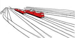 Karlsruhe_March 2017 (stevefaradaysketches) Tags: trains locomotives railway tracks karlsruhe urbansketch inksketch