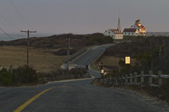 The Road to Coast Guard Beach at Sunset (brucetopher) Tags: travel road tourism beauty light sunset glow water powerlines pole building architecture beach bridge atlantic ocean sea saltwater bay sandbar lifesavingstation tower seacoast coastal coast scene 7dwf