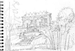 Le Château Colvert,  depuis le Parc Oriental de Maulévrier (Croctoo) Tags: croctoo croctoofr croquis crayon chateau anjou jardin maulévrier