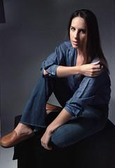 Tiffani Blue 5 (neohypofilms) Tags: portrait series blue bleu denim style fashion retro vintage jeans hair long shoes clogs mules slippers 70s 60s hippie color colour 35mm film slr nikon f studio model classic pinup