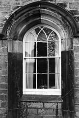 Window Lancaster UK (Man with Red Eyes) Tags: architecture window arch elegant design lancaster northwest analog blackwhite monochrome silverhalide kentmere400 hc110 150 12mins v850 f3p nikon nikonf3p film 35mm mechanicalcamera vintage 50mmf18nikkor