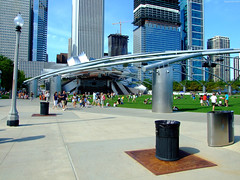 "People entering the Jay Pritzker Pavilion • <a style=""font-size:0.8em;"" href=""http://www.flickr.com/photos/34843984@N07/14919238364/"" target=""_blank"">View on Flickr</a>"