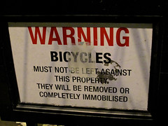 Warning Bicycles, London, UK (Robby Virus) Tags: city uk greatbritain england london english sign warning unitedkingdom britain property bicycles british removed immobilized