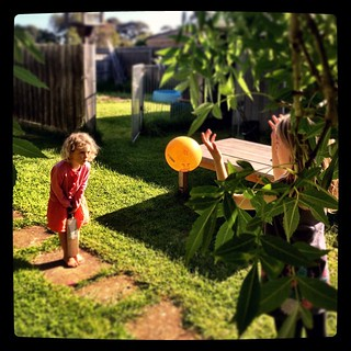365/283 • backyard cricket - I'm stuck in the office today but wish I was not! This shot is from the weekend - my perfect weather. Summer can hold off forever, I much prefer Spring • #2014_ig_283 #latergram #backyard #cricket #4yo #6yo #beforetheballwento