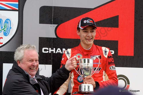 George Russell wins the Jack Cavill Cup, Snetterton, October 2014