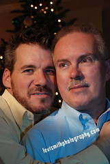 Brian and Fred (Levi Smith Photography) Tags: christmas gay two portrait tree men love pine beard lights couple holidays style guys shirts together 50s mustache headshots oldfashioned oxfor