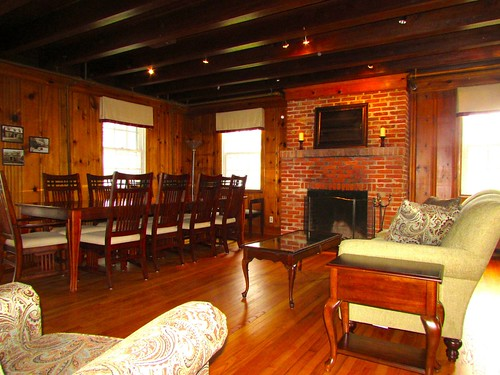The Lodge has a functioning fireplace, but the College does not provide firewood.
