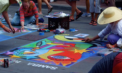 """Samba Abstract Face chalk art by Mary Carrothers • <a style=""""font-size:0.8em;"""" href=""""http://www.flickr.com/photos/34843984@N07/15358336338/"""" target=""""_blank"""">View on Flickr</a>"""
