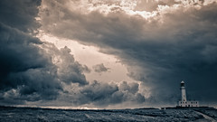 Flamborough skies (Mister Electron) Tags: blackandwhite bw storm monochrome clouds landscape coast stormy eastyorkshire splittoned flamborough cloudformations flamboroughhead yorkshirecoast nikond700