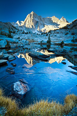 blue sabrina mountain lake reflection ice gold sierra alpine