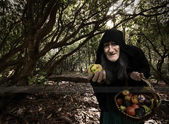 """Are you afraid of poison?"" (Sshhhh...) Tags: old autumn woman man halloween leaves grey woods october rat dolls basket head witch robe decay haunted samhain cape hood apples worm rotton sshhhh"