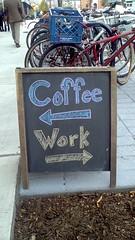 Coffee vs. Work (literally true) (htomren) Tags: signs philadelphia coffee chalkboard joecoffee tomspix
