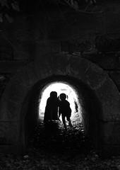 Under the bridge (VelvetJones_) Tags: bridge light shadow house silhouette 35mm canon dark children arch glasgow stonework under tunnel keystone pollok pollokestate 1100d efs18200mm