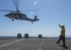 USS Comstock (LSD 45)_141009-N-CU914-162 (U.S. Naval Forces Central Command/U.S. Fifth Fleet) Tags: ocean west island bahrain san war gulf pacific indian group navy diego lenny hong kong transit malaysia terror marines arabian dod fleet lacrosse arg 5th 7th isis uss osprey platforms amphibious makin comstock isil readiness departmentofdefense mv22 hooyah lsd45 lhd8 cu914 npase lpd22 presencematters phibronfive