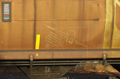 BOOK MAN (YardJock) Tags: railroad metal train graffiti steel spraypaint hopper readmore freighttrain rollingstock benching benchreport