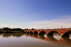Old Bridge (Alessandro Mandarini) Tags: bridge blue trees sky italy reflection nature water canon river torino italia blu fiume natura ponte cielo turin alberti eos1100d