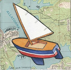 Toy Sailboat (steveartist) Tags: art collage toys maps paintings sailboats 2014 toyboats artonpaper whimsicalart smallworks toysailboats stevefrenkel
