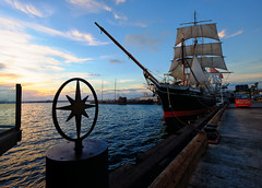 Star of India Tall Ship in San Diego, California (` Toshio ') Tags: california sunset water clouds harbor dock downtown sailing ship sandiego sails tallship maritimemuseum starofindia toshio