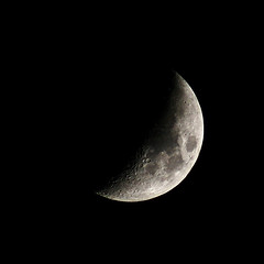 Almost Half Moon (theeqwlzr) Tags: moon texture blackbackground nightlights outdoor astrophotography nightsky southerncalifornia minimalism outerspace lunar canonrebelxti sandimascalifornia