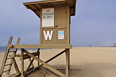 No Lifeguard on Duty (AntyDiluvian) Tags: california la losangeles newportbeach beach lifeguardtower lifeguardstation lifeguard ladder