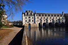 The castle of Chenonceau (Le Château de Chenonceau ) in winter, Loire Valley - France (natureloving) Tags: châteaudechenonceau castleofchenonceau valleydelaloire loirevalley france reflection nature river natureloving nikon d90