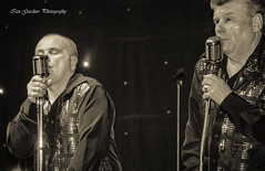 Retro Singers (IAN GARDNER PHOTOGRAPHY) Tags: singers singing sepia monochrome entertainers charity microphones