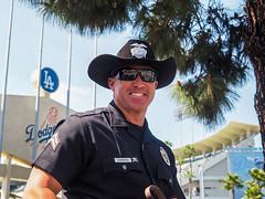 LAPD's Officer Diamond (classymis) Tags: classymis dodgerstadium teeth smile policeman police badge lapd officer cowboyhat
