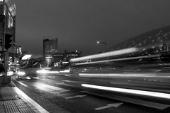 Night city light trials (akira.nick66) Tags: blackandwhite bnw cafe city cityview holiday korea korean lighttrails motion motions moving nightphaotography nightscene nightview seoul seoulcity southkorea streetlights streetphotography streetview travel traveling vacation