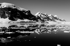 Time for Reflection (Danae Sheehan) Tags: blackandwhite monochrome antarctica landscape view cold snow ice rock black white sky scenic still antarctic peninsula mountains ridges water