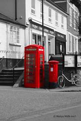 Market Hill - Framlingham (Herb287) Tags: nikon d60 suffolk framlingham colourpop post postbox telephone telephonekiosk red monochrome mono blackwhite grey markethill unlimitedphotos theamateursgroup