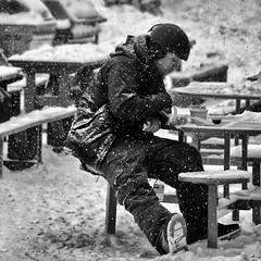 Lunch in Canada (Mister Day) Tags: blackandwhite nero noiretblanc noir snow winter person solitary eating snowstorm jasper canada marmot skihill snowboarder